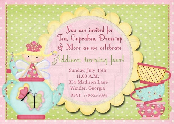 Tea Party Invitation  Birthday Fairy Dress-up Party -Digital File