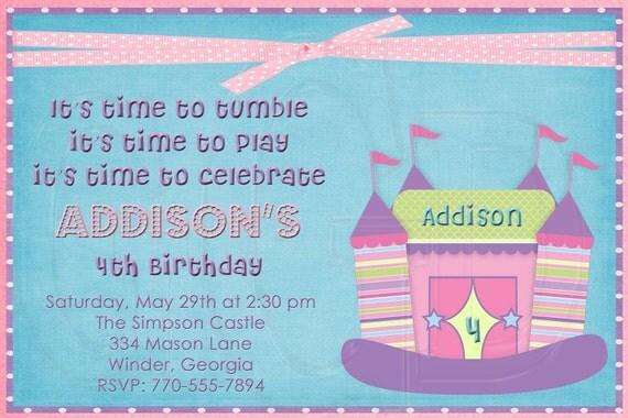 Bounce House Birthday Invitation Girl-Digital File