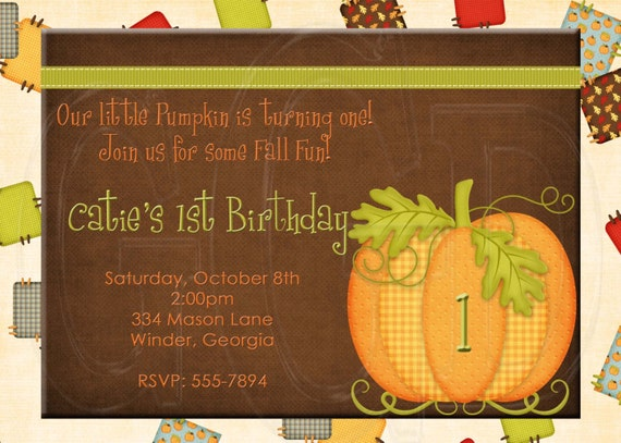 Patchwork Pumpkin Birthday Invitation-Digital File