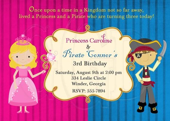 Pirate and Princess Birthday Invitation-Digital File