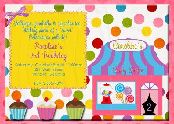 Candy Shop Invitation-Digital File