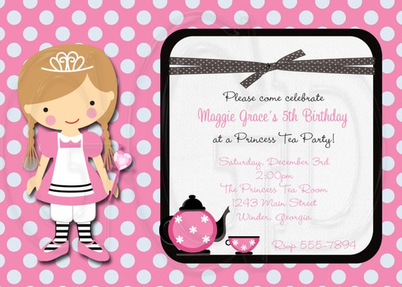 Tea Party Invitation Princess Tea Party -Digital File