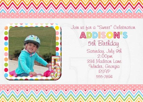 Chevron Birthday Invitation Gumball Lollipop -Digital File Printable