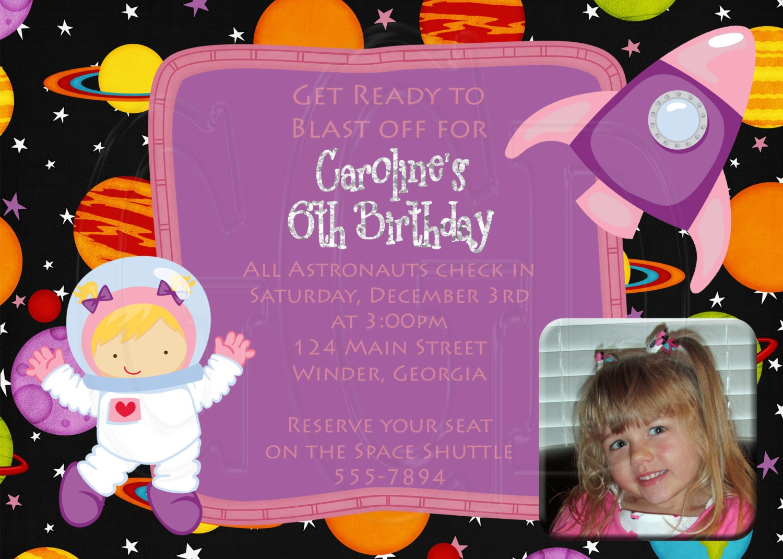 GIRL Astronaut Invitation-Printable Digital File