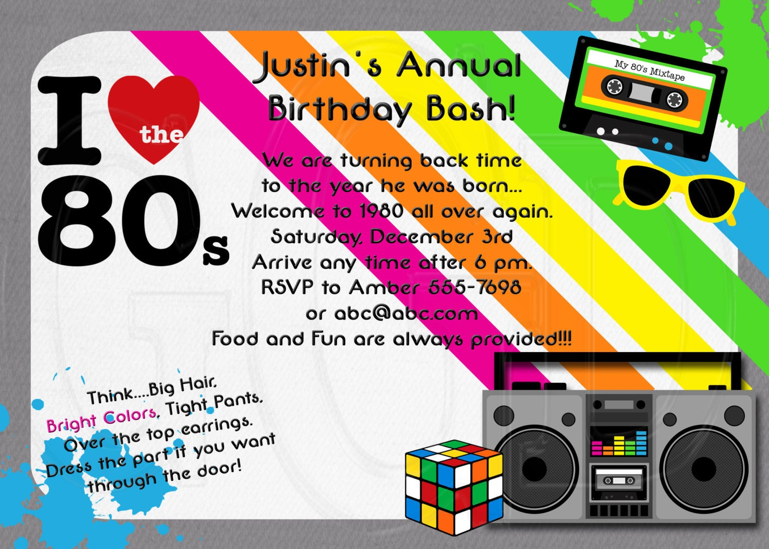 1980's Invitation 80's theme party Digital File