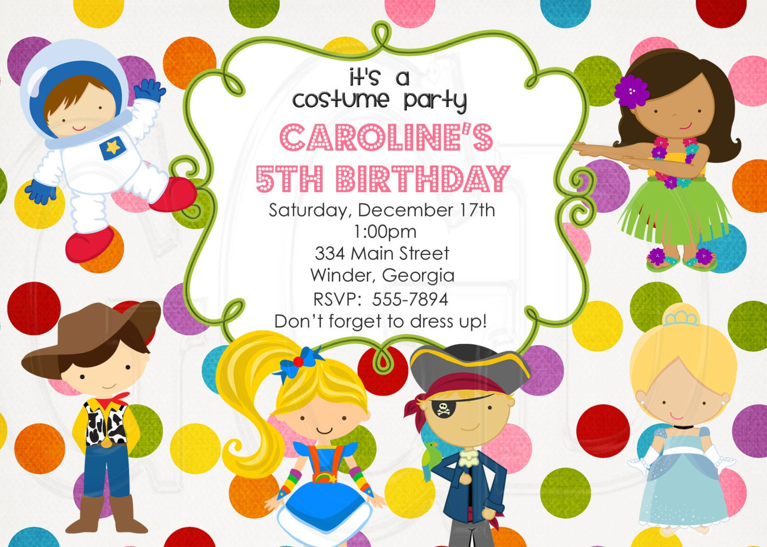 Costume Party Invitation BOY OR GIRL-Digital File