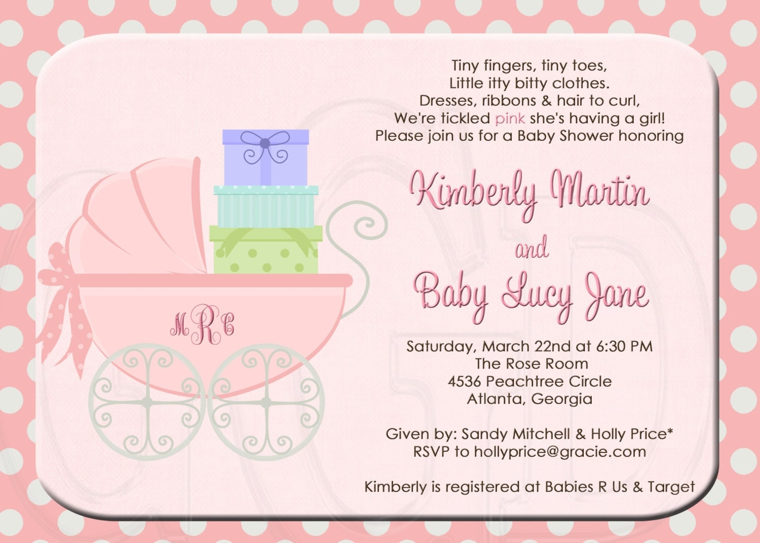 Baby Shower Invitation Or Sprinkle By Graciegirldesigns77