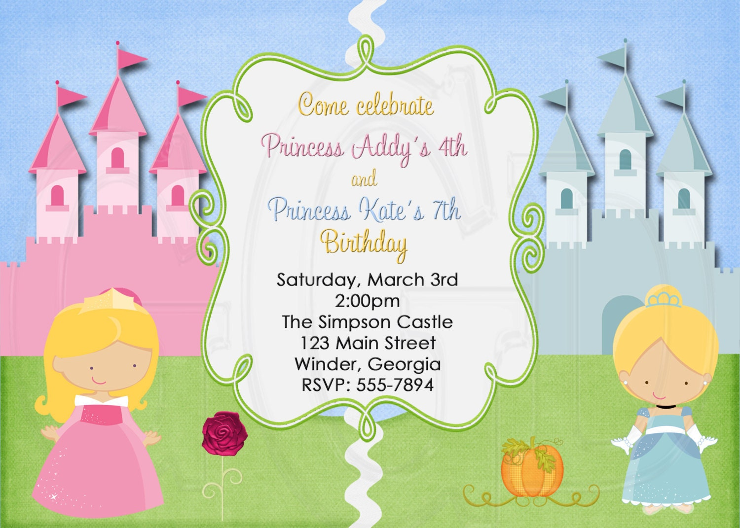 Princess Invitation or TInkerbell Princess Twins Joint – Disney Princess Birthday Invitation Wording
