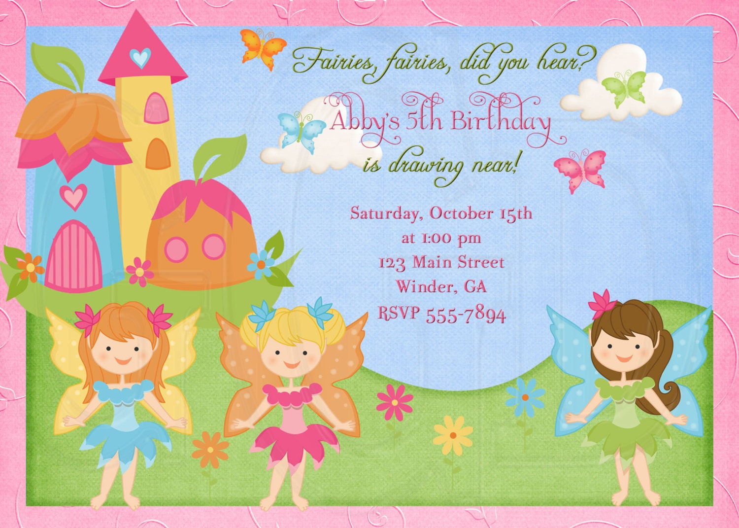 tinkerbell invite fairy invitation pixie invite digital file printable