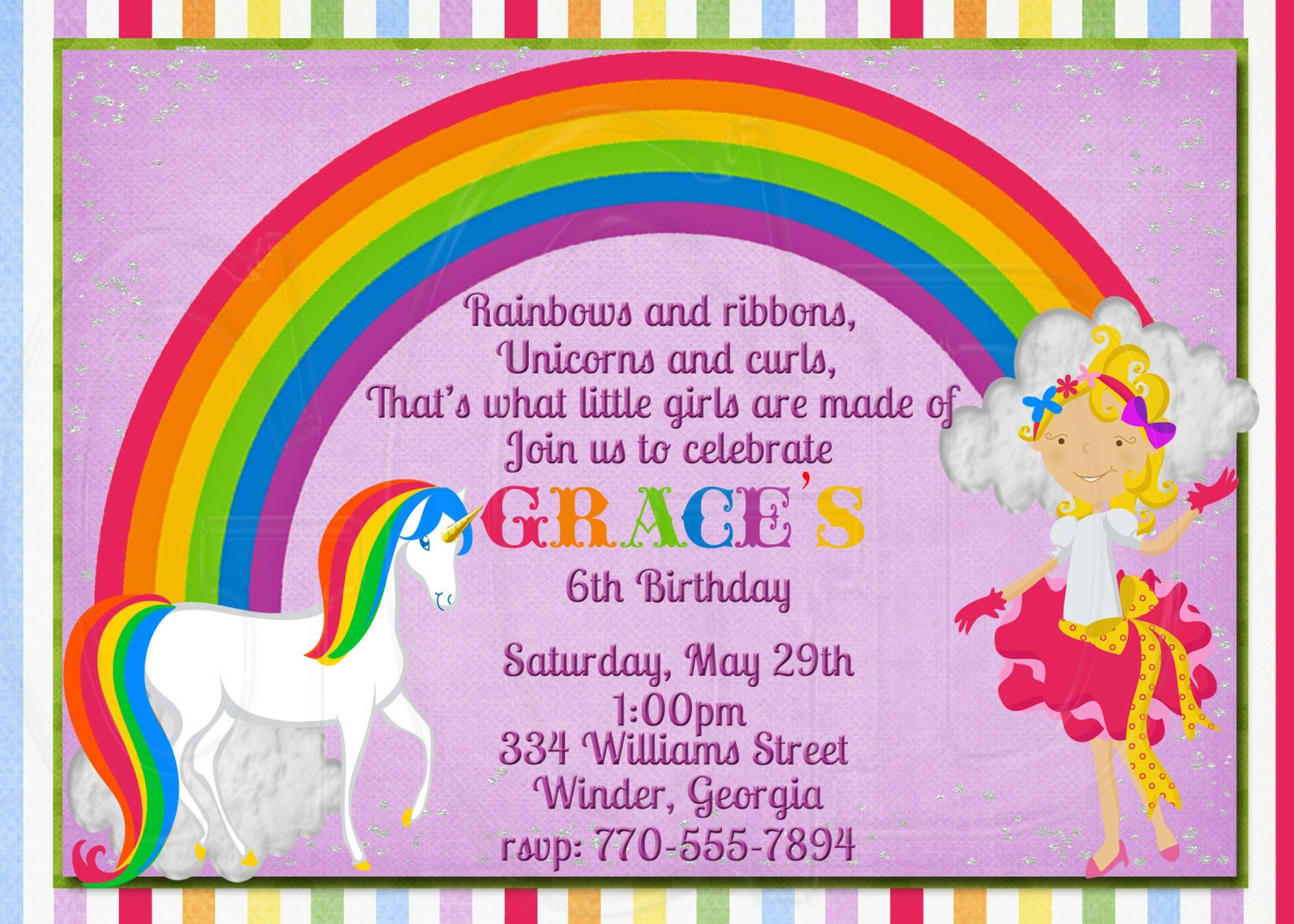 Rainbow Birthday Invites Amazing Invitation Template Design By