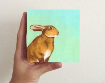 Miniature Rabbit Art - Early Afternoon Bunny / Mini Art Block - Nursery art, kids room decor