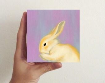 Miniature Rabbit Art - Early Evening Bunny / Mini Art Block - children room decor, nursery decor
