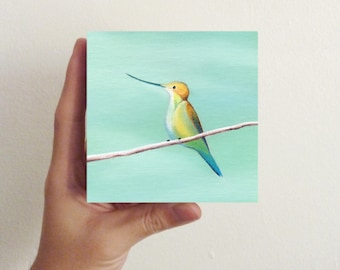 Miniature Hummingbird Art - Bird Art - Hummingbird Six / Mini Art Block