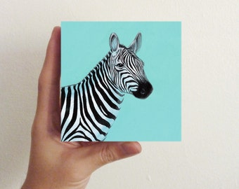 Miniature Zebra Art / Mini Art Block - nursery decor, kids room decor