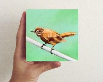 Xenops Bird Art  / Mini Art Block - children room decor, nursery decor