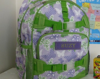 Large Pottery Barn Backpack With Monogram (Large Size) -- Purple Butterfly