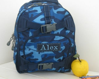 Small Backpack With Monogram (Small Size) -- Navy Camo