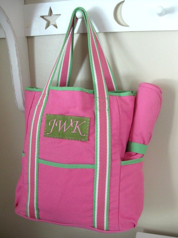 monogrammed diaper bag upcycled pottery barn by benlovesbirdy. Black Bedroom Furniture Sets. Home Design Ideas