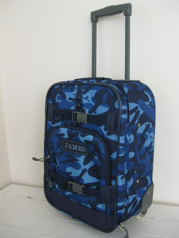 Personalized Kids Rolling Luggage Small Size Navy Camo