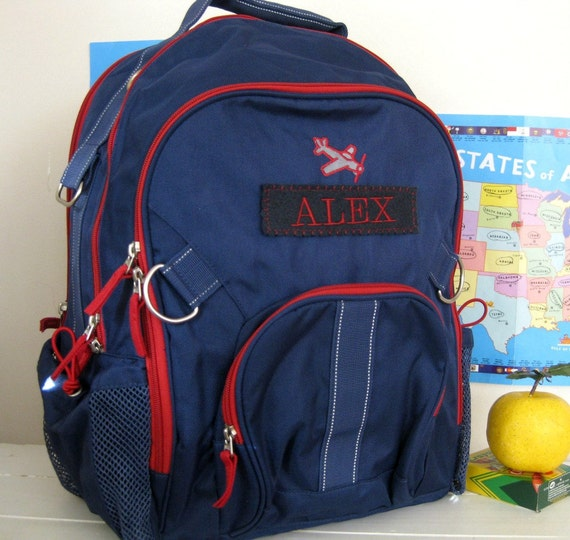 Backpack with Monogram Upcycled Pottery Barn (Large Size) -- Navy With Red Trim (Plane Patch)