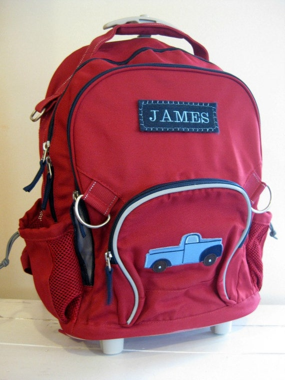 Large Rolling Backpack With Monogram (Upcycled Pottery Barn) -- Red With Truck Patch -- Free Shipping