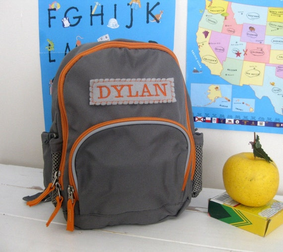 Personalized Toddler Backpack Pottery Barn (Mini Size) -- Gray/Orange
