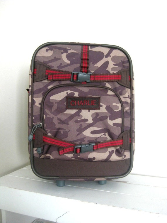 Personalized Kids Rolling Luggage Small Size Brown Camo