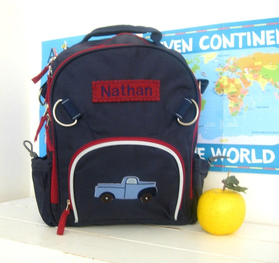 Preschool Backpack Personalized (Small Size) -- Navy/Red With Truck Patch