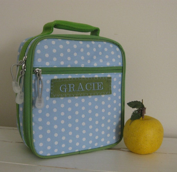 Girl's Personalized Lunch Box With Monogram  -- Blue Dot