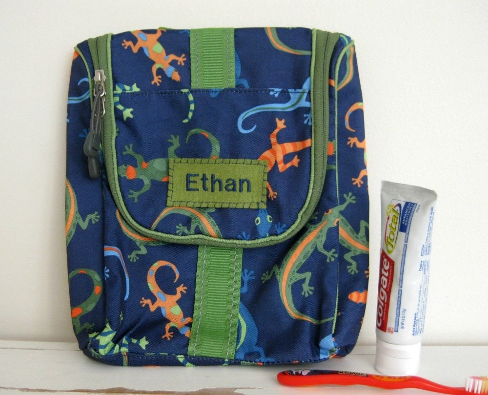 Kids Personalized Toiletry Bag Gecko