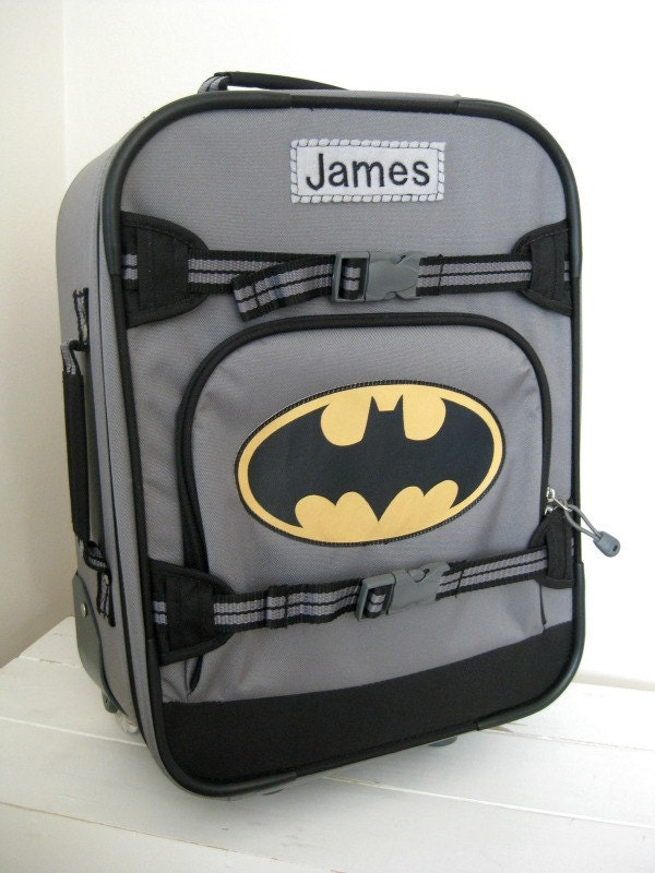 Personalized Kids Rolling Luggage Small Size Batman