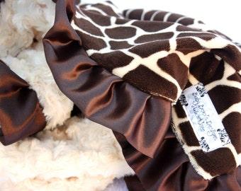 Adult Size Giraffe Minky Baby Blanket