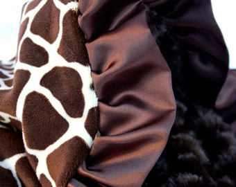Minky Giraffe Baby Blanket with Satin Ruffled Trim Stroller Size