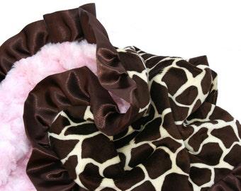 Giraffe Minky Baby Blanket Pink Rosebud Minky Brown Satin Ruffle stroller size