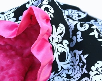 Stroller Size Black and White Damask Minky Baby Blanket Pink Ruffle Trim