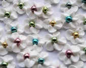 50 Handmade Sparkling Royal Icing Flowers with Multi colored dragee centers