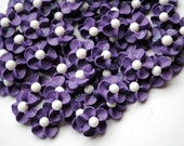 Handmade Purple Sparkling Royal Icing Flowers with white sugar pearl center (50)