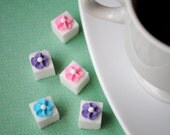 Decorative Sugar Cubes- Royal Icing Flowers on Sugar Cubes-  Pink, Light Blue & Lavender (30)