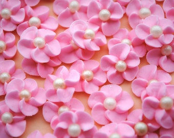 Royal Icing Flowers- Cake Decorations- Baby Pink with Ivory Sugar Pearl Center (50)