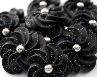 Sparkling Black Royal Icing Flowers-  Modern style with 6mm Silver dragee center (24)