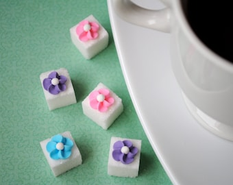 Decorative Sugar Cubes- Royal Icing Flowers on Sugar Cubes-  Pink, Light Blue & Lavender (25)