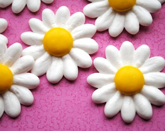 Royal Icing Daisies with Chocolate Candy Centers and Sparkles (12)
