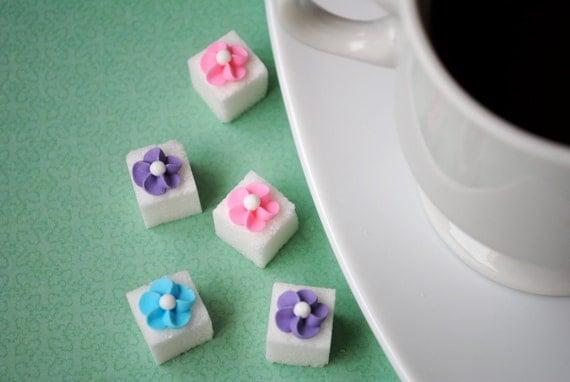 Decorative Sugar Cubes- Royal Icing Flowers on Sugar Cubes-  Pink, Light Blue & Lavender (25)