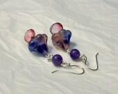 Earrings. Jewelry. Amethyst. Mystic. Quartz. Sterling. Silver. Pink. Purple. Czech. Glass. EMJewelry handmade gemstone jewelry by eri059