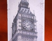 Vintage look photograph postcard London Big Ben clock tower English