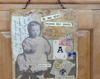 Little Boy Antique Photo Steampunk Collage