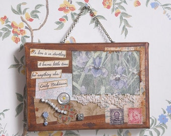 Steampunk Collage Emily Dickinson Quote wall decor chris peters mementos of the journey