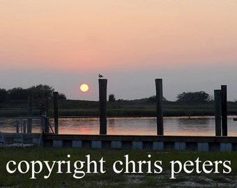 Photo Note card sunset over bay ocean free shipping chris peters mementos of the journey
