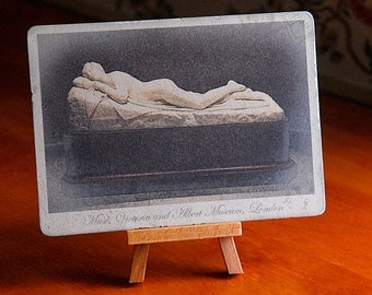 Reclining Ivory Muse, Statue, Victoria Museum London vintage photo postcard
