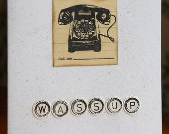 Wassup stamped retro telephone notecard